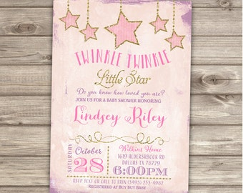 Twinkle Twinkle Little Star Baby Shower Invitations Shabby Chic Pink and Purple Gold Glitter Theme Party girl Girl Shower its a girl NV1006
