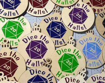 D20 Dice the halls rpg ornament in wood and vinyl