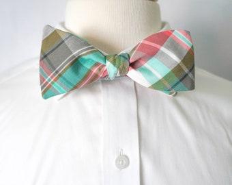 Men's Plaid Self-Tie Bow Tie, Men's Bow Tie, Freestyle Bow Tie, Plaid Bow-Tie