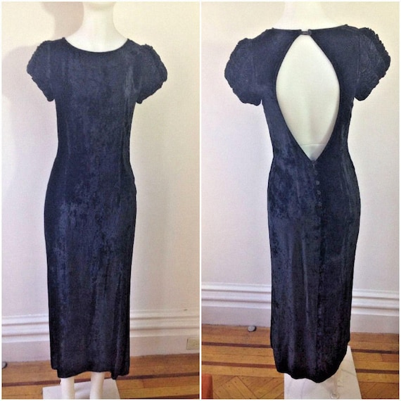 Vintage GHOST England Black Rayon Velvet Dress Wit