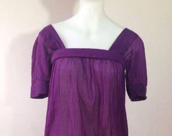 Vintage YSL Saint Laurent Purple Peasant Top Shirt Airy Blouse 34 XS 80s