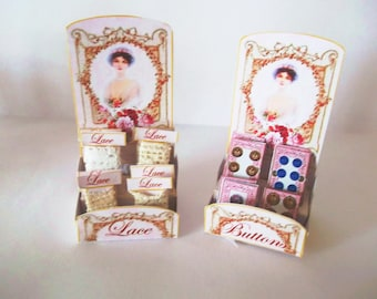 1:12th scale Dolls House Miniature Button and Lace Displays