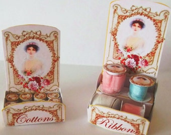 1:12th scale Miniature Cotton and Ribbon Display Kit File