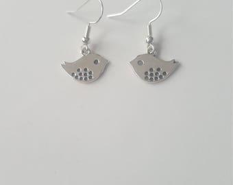 Little bird earrings, silver bird earrings