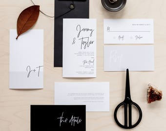 Printable Wedding Invitation Set | Wedding Invitation + RSVP | Modern, minimalist, black, white, gray, neutral, calligraphy | Minimalist