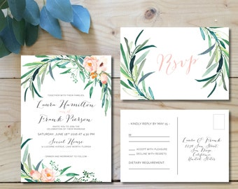 Printable Wedding Invitation Set, Greenery Wedding Invitations,  Watercolor foliage, modern, floral, botanical, boho weddings | Eucalyptus