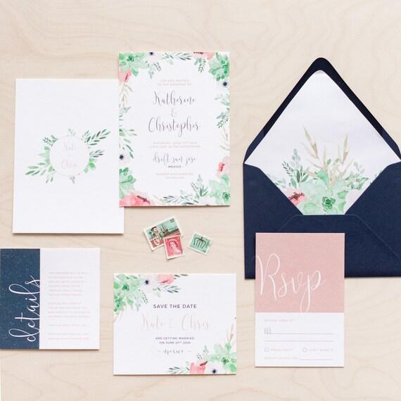 f0f9491b92cd Printable Wedding Invitation Set Wedding Invitation RSVP