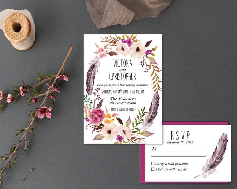 0a5f4e4bcbd0 Printable Wedding Invitation Set Invitation RSVP