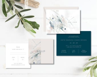 Printable Wedding Invitation Suite   Wedding Invitation + RSVP card    Watercolor art, navy, blush, minimalist, modern    contemporary