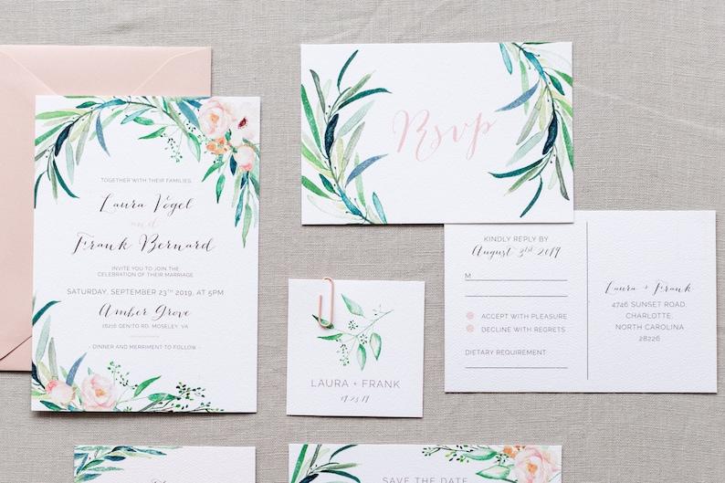 9da0757b9215 Printable Wedding Invitation Set Greenery Wedding