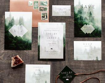 Printable Wedding Invitation Set, Rustic Wedding Invitation, Forest, Woodland, Camp, Modern, Geometric, Bear, Nature, Mountain   Fog Forest