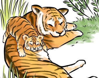 Tiger cub and mom, digital print on textured fine art paper