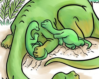 Baby brontos and mom, digital print on textured fine art paper