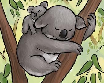 Baby koala bear and mom, digital print on textured fine art paper