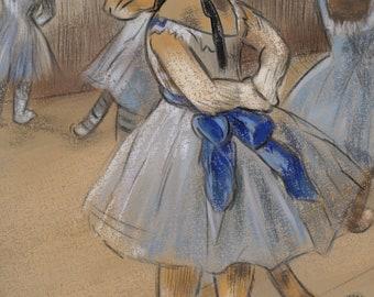 Feline dancer, digital print on textured fine art paper