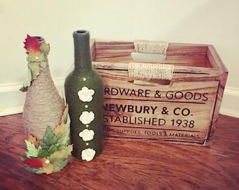 Bouteilles de vin d'automne - ficelle enroulé bouteilles de vin - maison rustique Decor - maîtresse - Hall d'entrée Decor - décor de l'automne - l'automne Decor