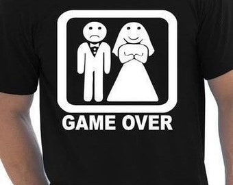 a07683df36 Game Over Fancy Dress Tshirt Stag Do Mens Funny Gift Tshirt Suit Wedding  Party
