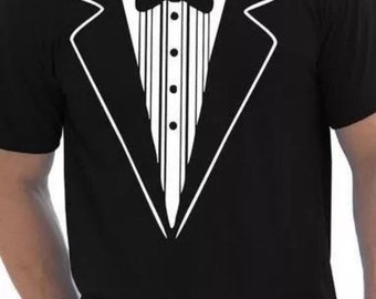 c9618873c Tuxedo Fancy Dress Tshirt Stag Do Mens Funny Gift Tshirt Suit Wedding Party