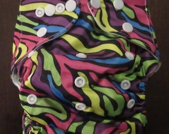 Adjustable Snap Reusable Pocket Cloth Diaper Cover Colorful Zebra Srtiped Print