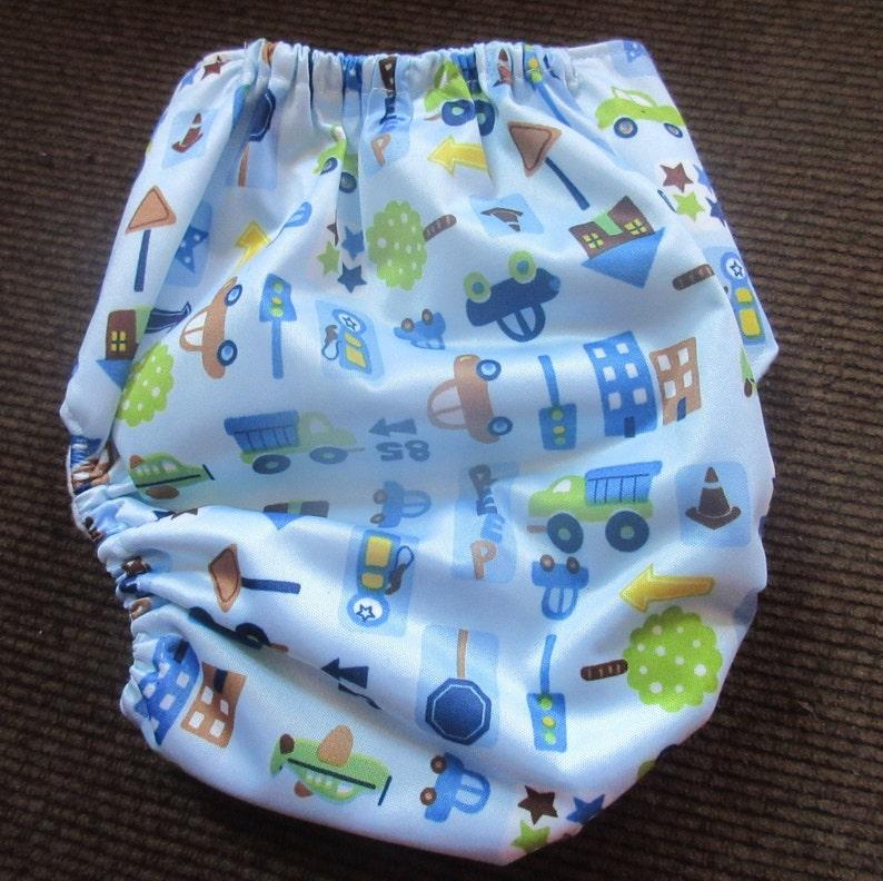 Adjustable Snap Reusable Pocket Cloth Diaper Street Scene Print