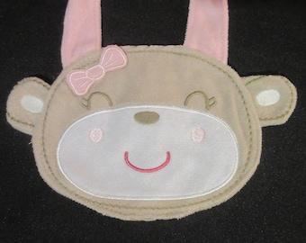 Baby Bib / Girl Monkey w/ Light Pink Bow