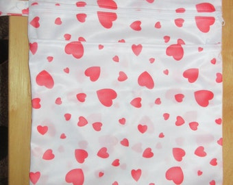 Wet Bag with 2 Zippered Compartments - Red Hearts Print