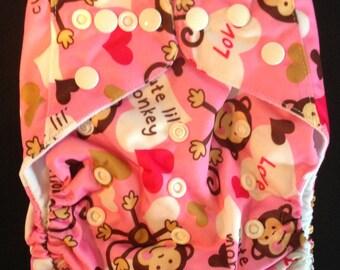 Adjustable Snap Reusable Pocket Cloth Diaper Cover Cute Pink Monkey Print