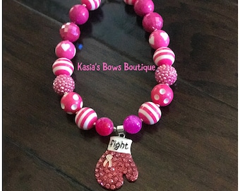 Breast Cancer Awareness Pink & White Hearts Fight Bubblegum Necklace