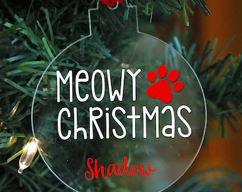 Personalized Cat Ornament, Meowy Christmas