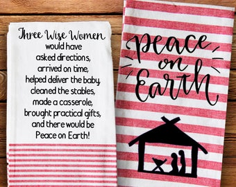 Christmas Kitchen Towel, Three Wise Women, Peace on Earth