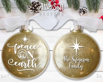 Personalized Christmas Ornament, Peace on Earth