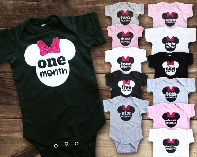 870576b87 First Year Monthly Shirts Minnie Disney Baby Baby Shower | Etsy