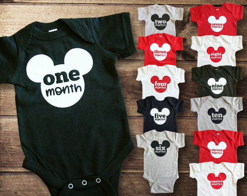 f04cd51e6a0c Monthly Milestone Bodysuits Disney Baby Baby Shower Gift
