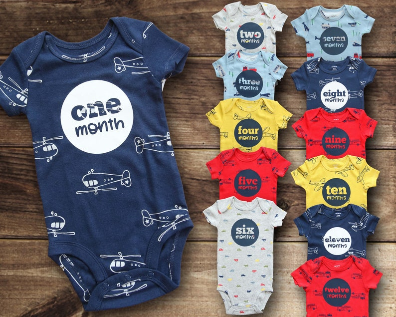 9d7dc8b51c51 Monthly Bodysuits Boy Baby Shower Gift Month by Month