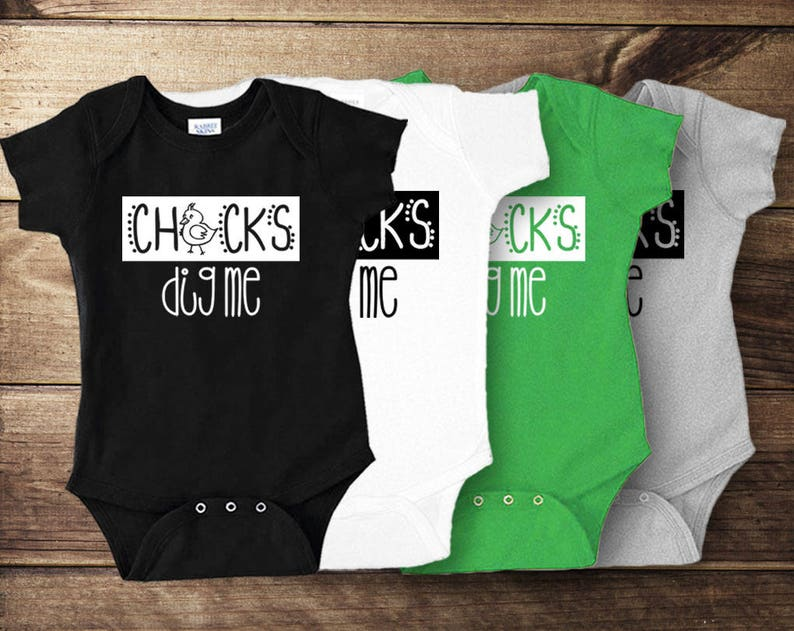 0789ae711 Chicks Dig Me Baby Bodysuit Funny Easter Shirt for Baby Boy   Etsy