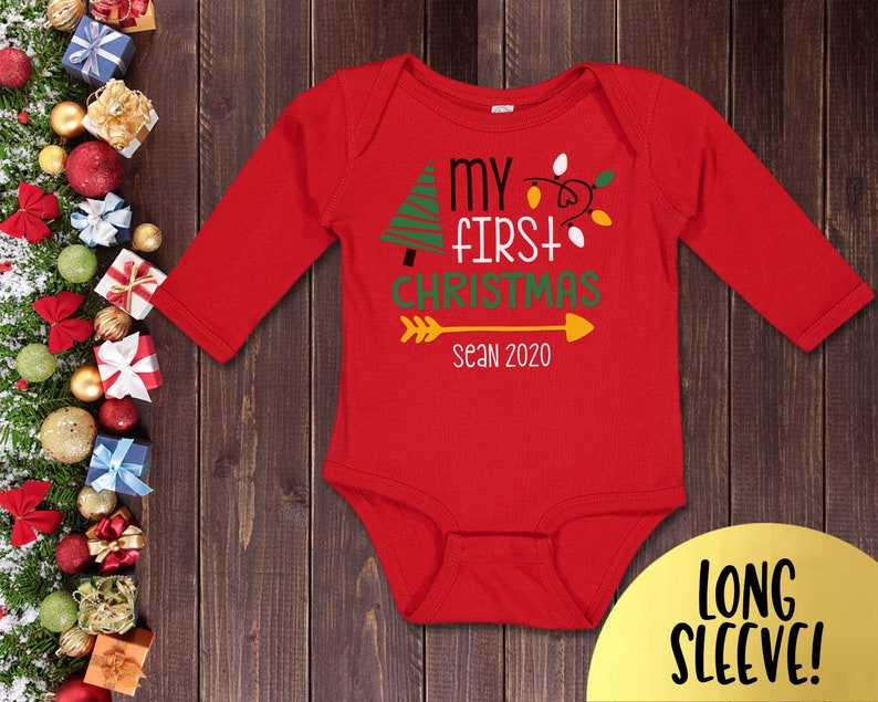 My First Christmas Dinner Personalized Long Sleeve Baby Vests Bodysuits Unisex