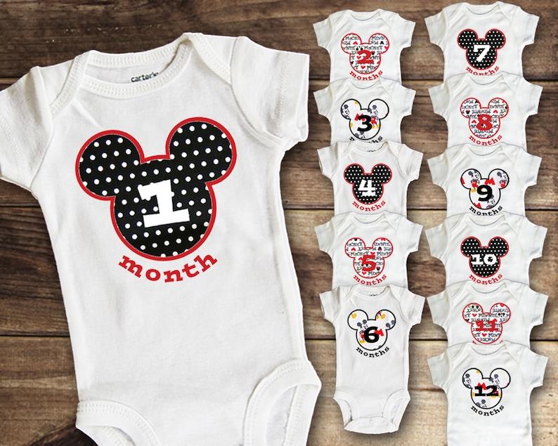 7ecea3695 Monthly Bodysuit Mickey Disney Baby Milestone Shirt Baby   Etsy