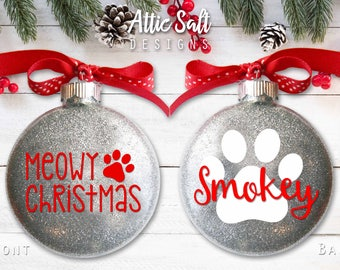 Personalized Cat Ornament, Meowy Christmas, Christmas Ornament