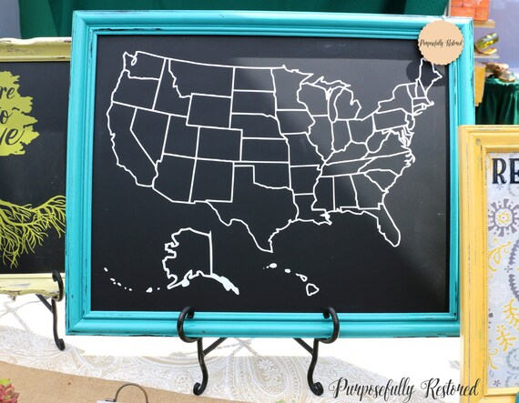 Usa Map W State Borders Chalkboard Home Decor Framed Etsy