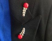 Vintage Brooch, Art Deco, Red, Orange, Pin, Silver Tone, Unique, Jabot, Collar, Hat Pin