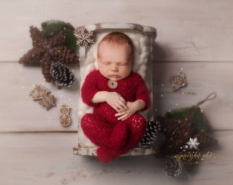 Newborn christmas outfit Christmas overall Christmas footed overall Beautiful newborn photo prop babyu0027s first Christmas  sc 1 st  Etsy & Newborn christmas | Etsy