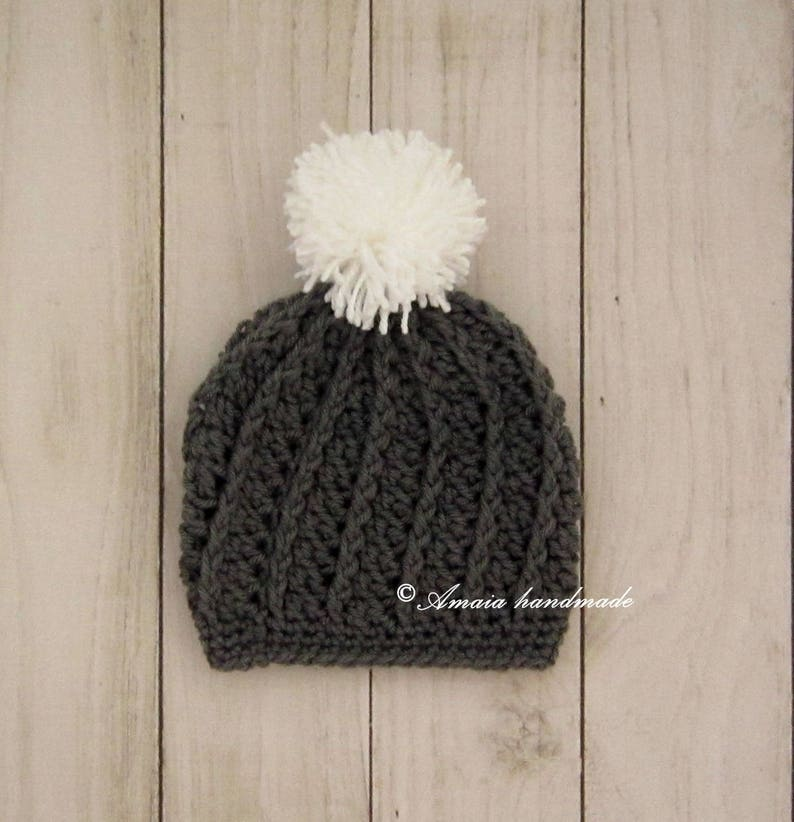 Soft acrylic wool Crochet pom pom hat for Newborn to 12 Months Pom pom beanie hat for baby Baby beanie great as home coming hat