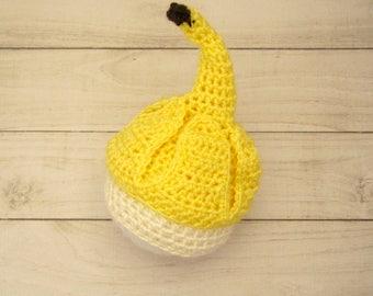 Gehaakte hoed van banaan, banaan babymutsje, gehaakt babymutsje voor pasgeboren tot 12 maanden, groot voor een schattige foto prop