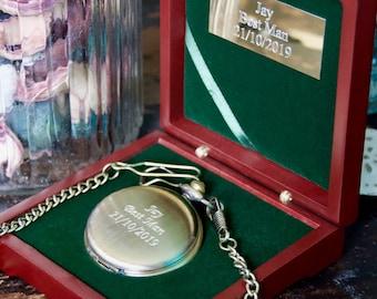 Engraved 'Antique Brass' Pocket Watch Groomsmen gift - Personalised Watch and Watch Box - Groomsmen Box - Best Man Gifts