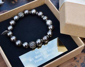 Bridesmaid gift - personalised bridesmaids bracelet wedding jewellery