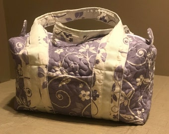 Quilted Lavender Floral Scroll 14 inch Duffle Bag