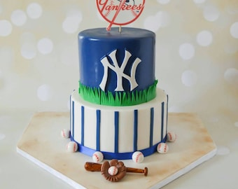 Baseball Cake Topper Set NY Yankees Logo New York Party Invitations