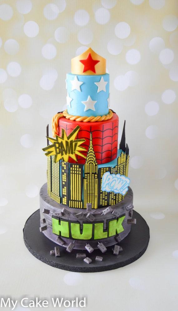 Groovy Super Hero Cake Decorations Set Super Hero Cake Toppers Super Etsy Funny Birthday Cards Online Necthendildamsfinfo