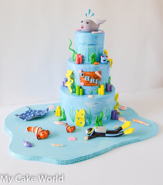 Astonishing Nemo And Friends Cake Toppers Set Finding Nemo Party Etsy Funny Birthday Cards Online Elaedamsfinfo