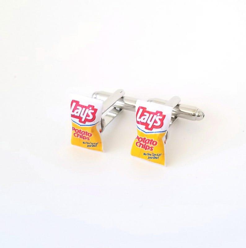 Miniature Vintage Lay's Potato Chips Cufflinks-Miniature image 0